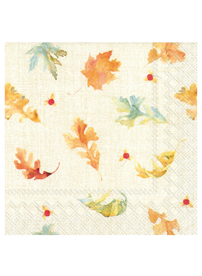Luncheon Napkin - Watercolor Fall Leaves