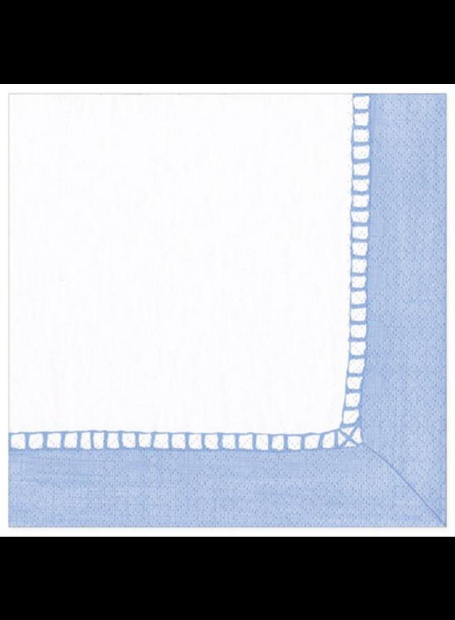 Cocktail Napkin - Linen Border Light Blue