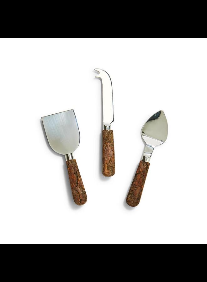 Bark Handle Cheese Knives Set of 3