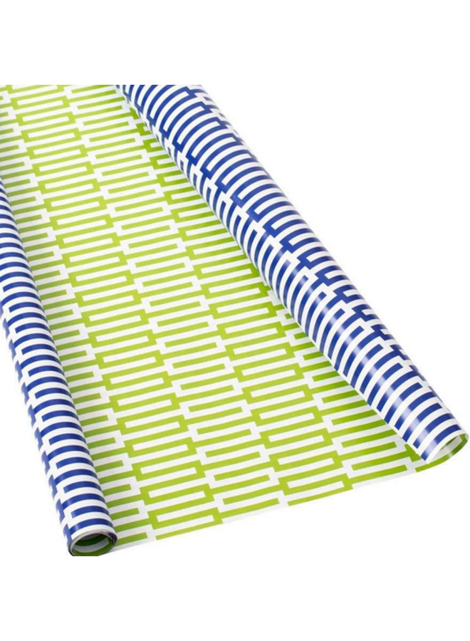 Wrapping Paper - Zipper Reversible Navy & Green