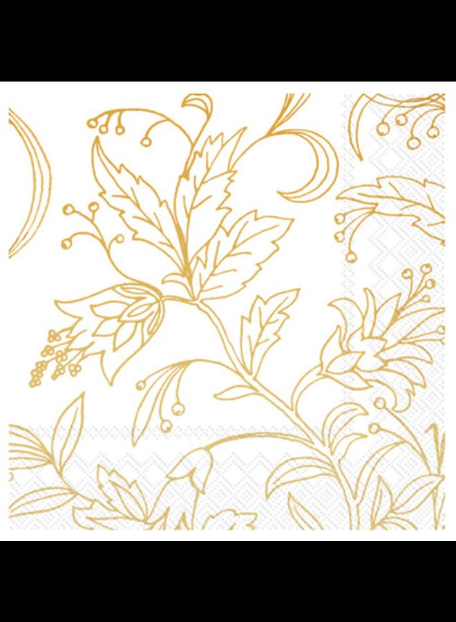 Cocktail Napkin - Golden Flower White/Gold