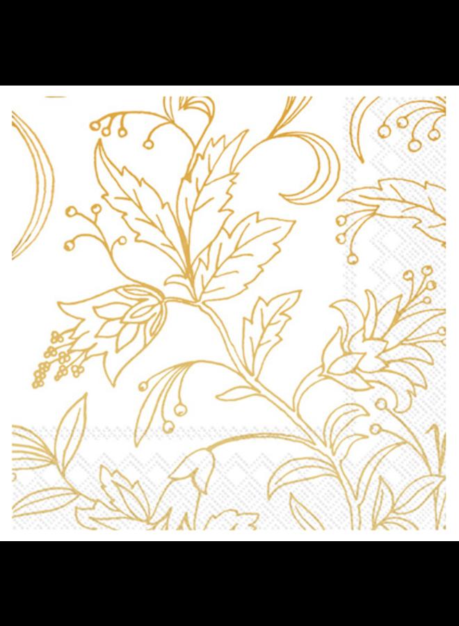 Luncheon Napkin - Golden Flower White/Gold