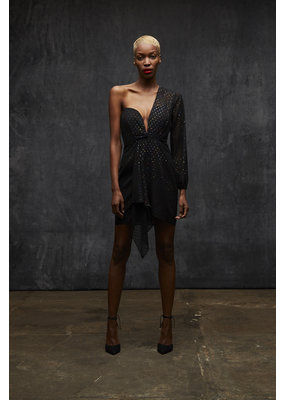 Draped One Sleeve Mini Dress