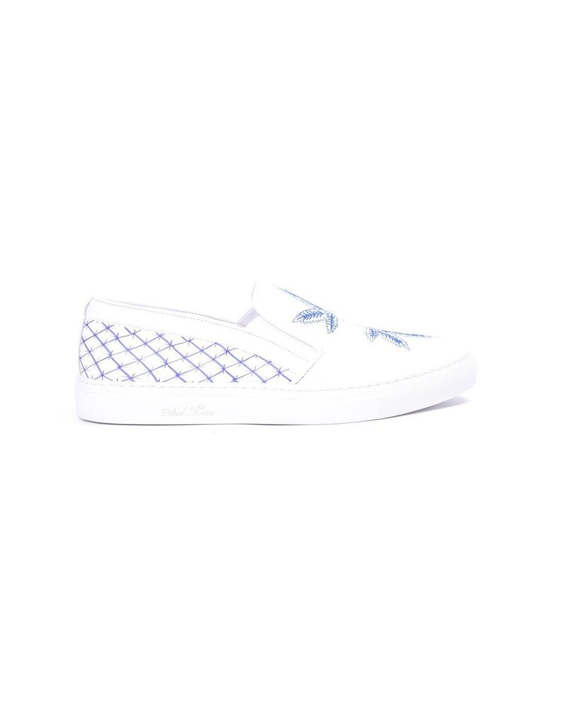 Men's White Nappa Leather Slip On Sneaker With Marijuana Leaf Embroidery