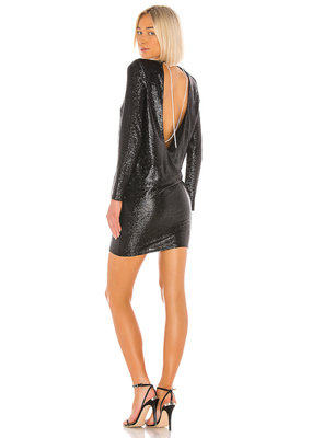 Michelle Mason Longsleeve mini dress with crystals