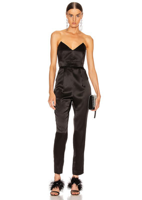 Michelle Mason Strapless plunge jumpsuit