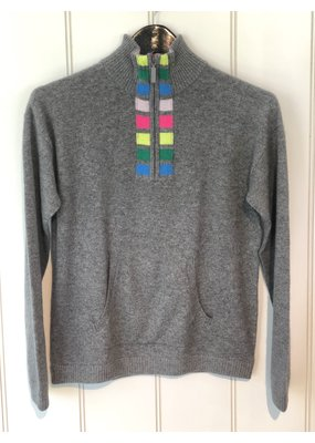 Threads of Privilege Cashmere stripe half-zip