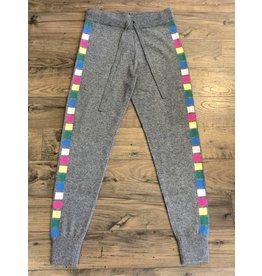 Threads of Privilege Cashmere neon stripe joggers