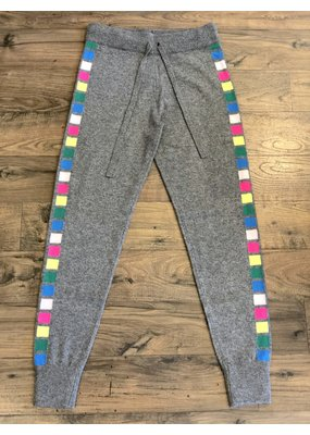 Threads of Privilege Cashmere neon stripe joggers