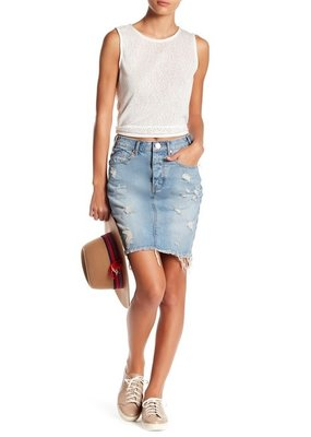 One Teaspoon One Teaspoon Hi-Lo denim skirt