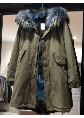 History Repeats Blue Fur Parka