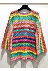 Rose Carmine Rose Carmine Flower Knit Sweater