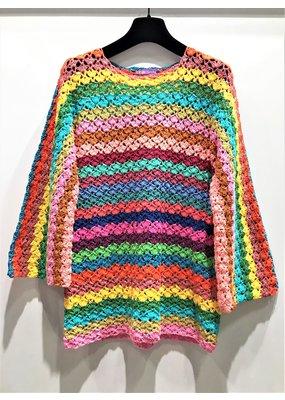 Rose Carmine Flower Knit Sweater