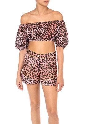 Juliet Dunn Leopard Mini Puff Top