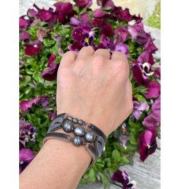 Fait Main Hand Made Triple Tahitian and Pave Mix Bracelet