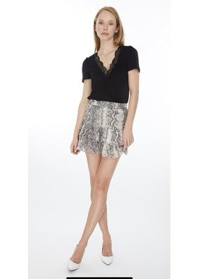 Generation Love Printed Metallic Mini Skirt
