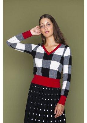 Happy Sheep Plaid V-Neck Sweater
