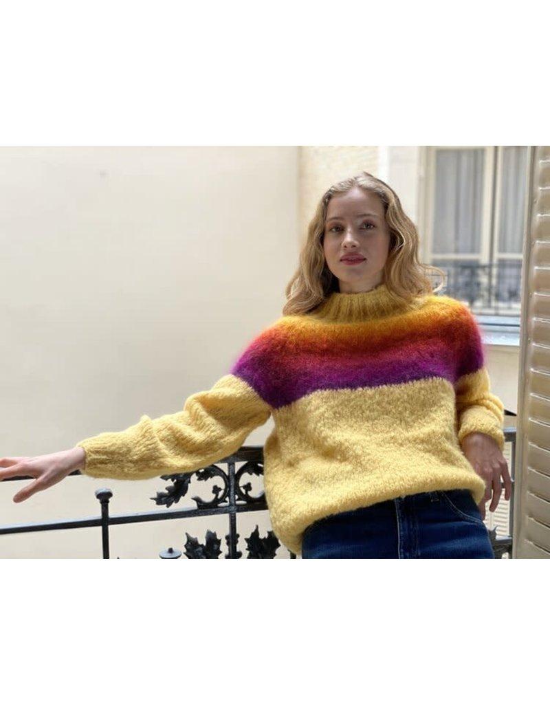 Rose Carmine Rose Carmine Rainbow Turtleneck Sweater