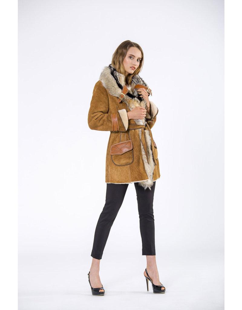 Di Bello Di Bello Merino shearling with fox fur