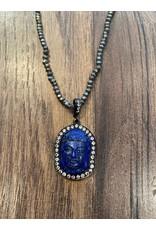 Pyrite Lapis Buddha Necklace