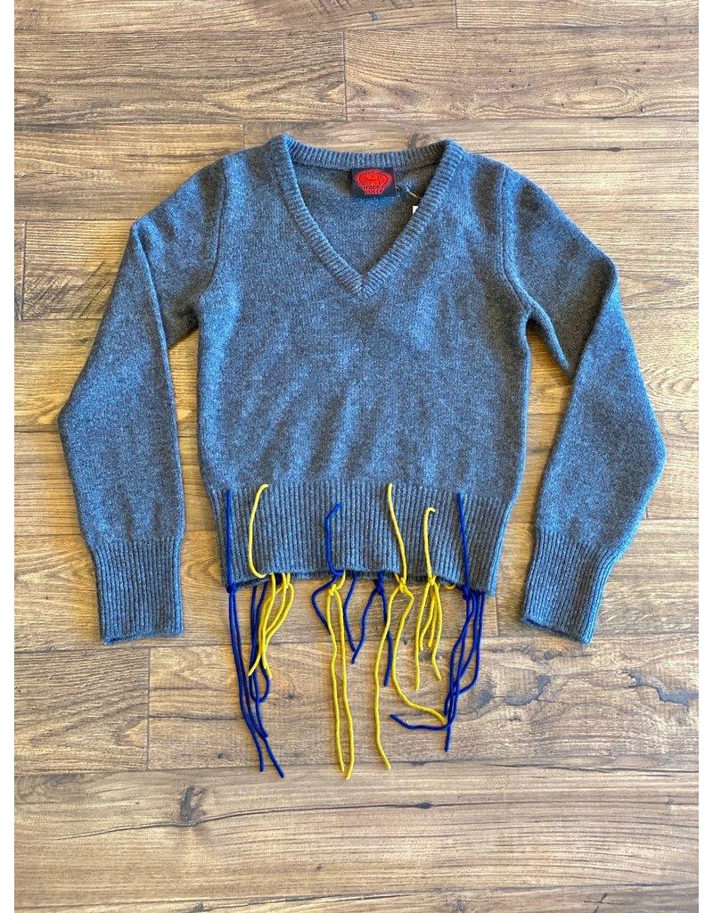 Happy Sheep Happy Sheep V-Neck Fringe Sweater