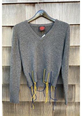 Happy Sheep V-Neck Fringe Sweater