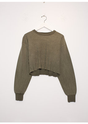 John Elliott Ribbed Terry Cropped Sweatshirt Brush