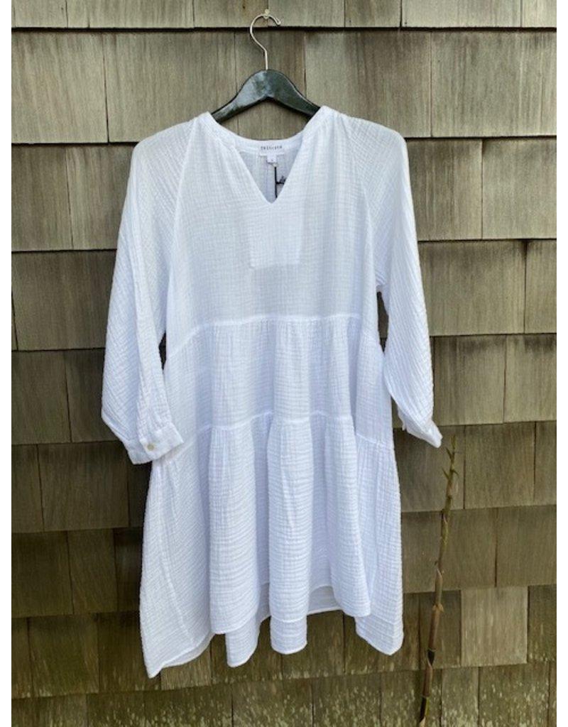 Felicite Felicite Puff Sleeve Dress Gauze White
