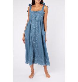Juliet Dunn Acid Wash Tie Shoulder Dress