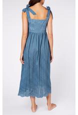Juliet Dunn Juliet Dunn Acid Wash Tie Shoulder Dress