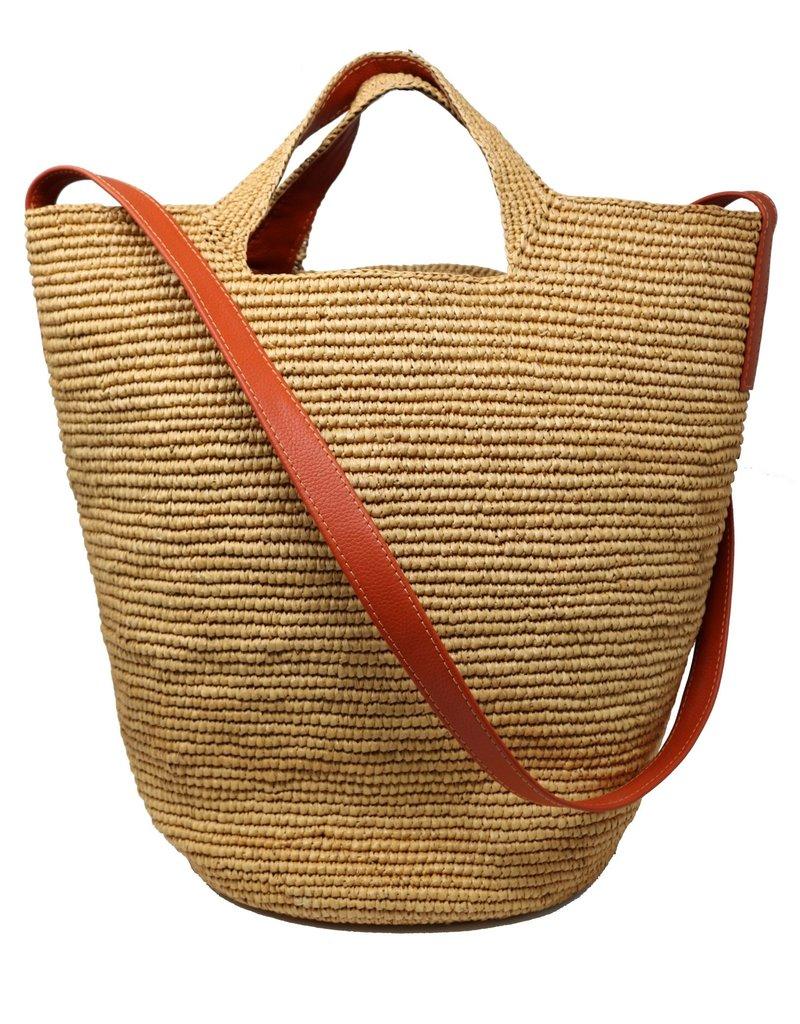 Sensistudio Sensistudio Tall bag with leather strap