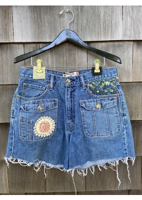 ThreadBare ThreadBare Denim Shorts with Flower patch