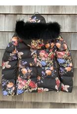 Di Bello Di Bello Tessuto Fiori & Goose Down Jacket w/ Finraccon Fur Trim