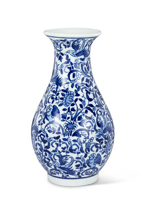 Large Blue and White Shapely Vase