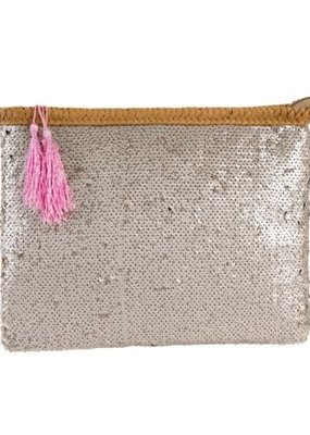 Sequin Party Clutch Cream