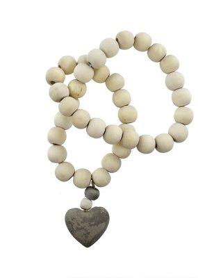 Wooden Prayer Beads w Small Heart