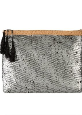 Sequin Party Clutch Silver