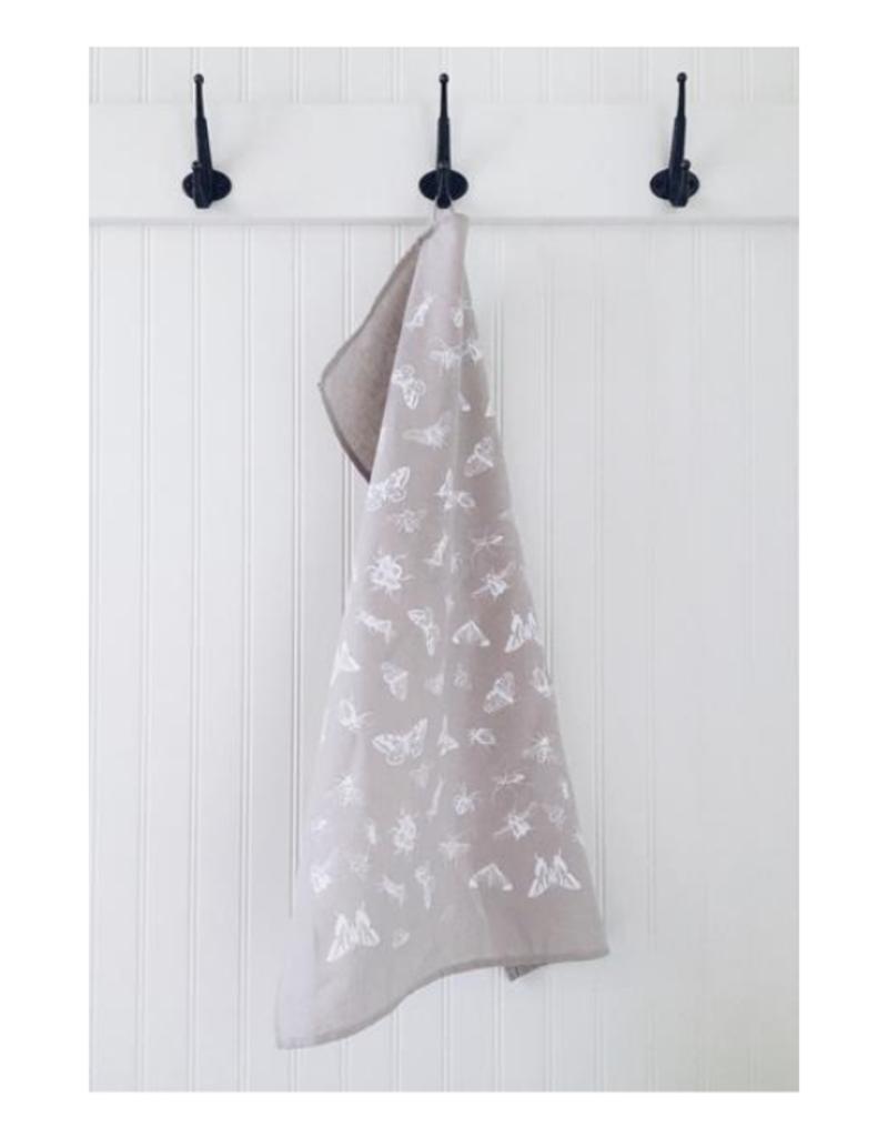 Ten & Co. Ten and Co. Cotton Linen Tea Towel Bugs Warm Grey