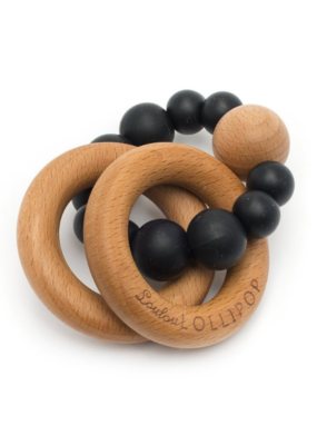 LouLou Lollipop LouLou Lollipop Silicone Wood Teether Black