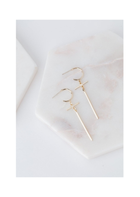 Lover's Tempo LT Earrings Everly Cross Hoop Gold