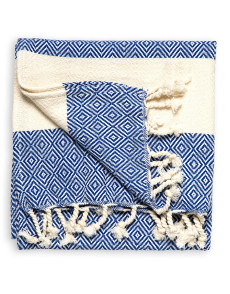 Diamond Turkish Hand Towel - Navy