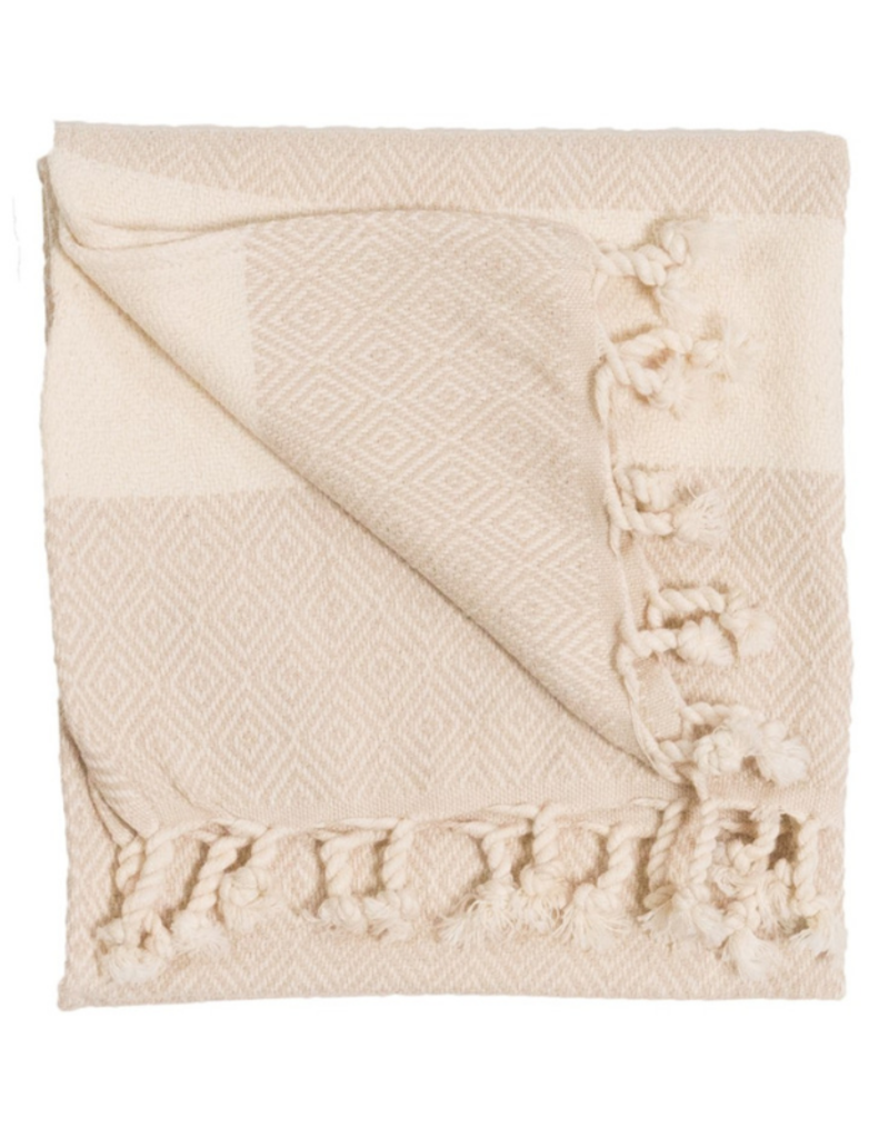 Diamond Turkish Hand Towel - Cream