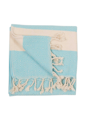 Diamond Turkish Hand Towel - Aqua