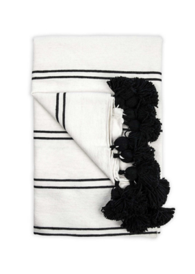 Moroccan Pom Pom Throw Double Black
