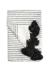 Moroccan Pom Pom Throw Sketched Charcoal