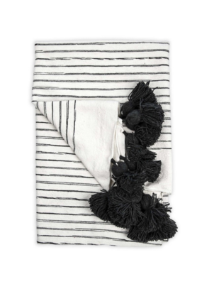 Moroccan Pom Pom Throw Sk/Charcoal