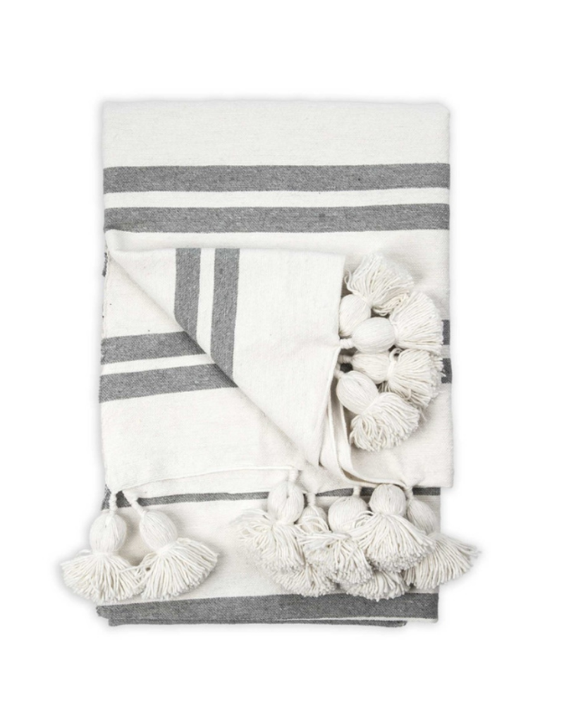 Moroccan Pom Pom Throw Racer White