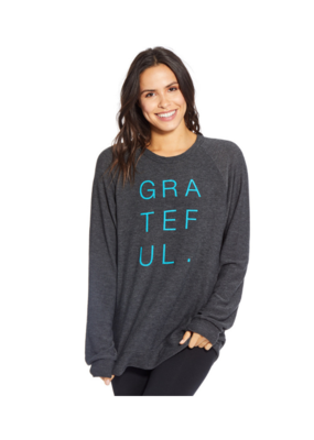 "Goodhyouman good hYOUman Pullover  ""Grateful"" in Black Sand"