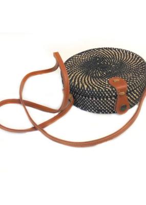 Round Rattan Bag Black
