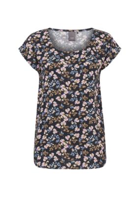 ICHI ICHI Vera SS Tshirt, Navy Flower